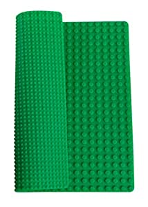"Classic Green Roll Up Building Mat by Strictly Briks | 15"" x 15"" Double Sided Silicone Travel Mat 
