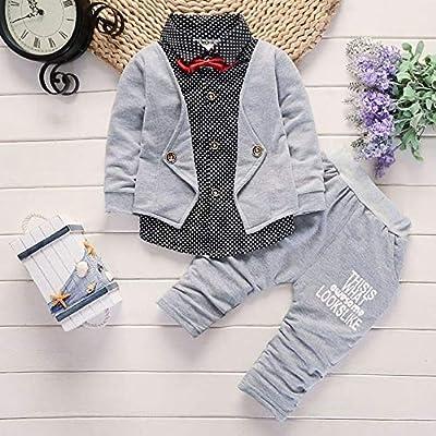 Kids Baby Boy Fashion Denim False Two Pieces Shirt Tops+Pants Clothes Outfits