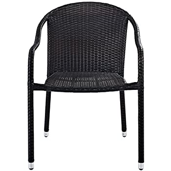 Crosley Furniture CO7109-BR Palm Harbor Outdoor Wicker Stackable Chairs (Set of 4) - Brown