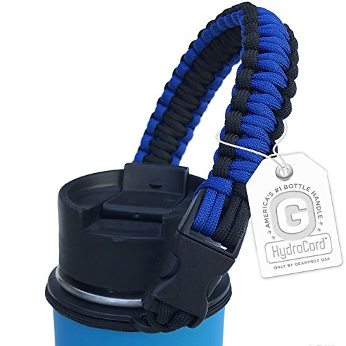 Gearproz Handle for Hydro Flask - Americas #1 Paracord Bottle Carrier with Safety Ring Holder - Fits Wide Mouth Water Bottles 12 oz to 64 oz - Top Ratings, 20+ Colors (Blue/Black)