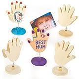 Porte-photos Mains en bois que les enfants pourront décorer et exposer (Lot de 4)