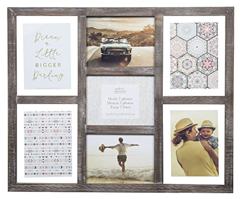 (Gallery Solutions Rustic Greywash 7 Opening Collage Float Picture Frame)
