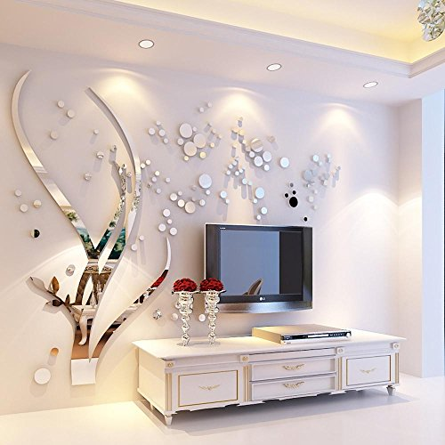 OOFYHOME Wall Sticker Mirror Branches 3D Stereo Acrylic Wallpaper Sticker Bedroom Wall Decoration Living Room Wall Sticker Home Decoration , mega , mirror silver (the branch is left) by OOFYHOME