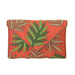 Palm Beaded Crossbody Clutch