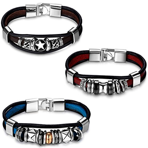 - Aroncent 3pcs Fathers Day Gifts Fashion Plaza Triple Strand Leather Zen Charm Bangle Bracelet with Metal Beads