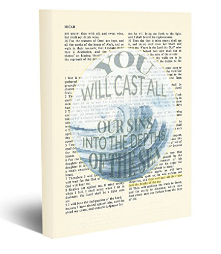 You will cast all our sins into the depths of the sea- Micah 7:19 Vintage Bible page verse scripture -Christian wall art wrapped CANVAS, dictionary wall decor, All Sizes