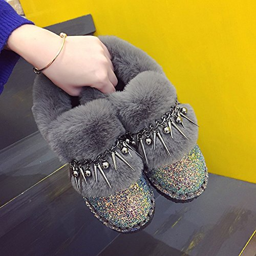 Europe the the Plus warm sequins United 90160CM rivets cotton boots women tassels shoes snow NSXZ GRAY States velvet new and fashion z6qd6P