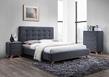 Schlafzimmer Set Lisa Komplett 4 Teilig Stoff Grau Eiche Bett