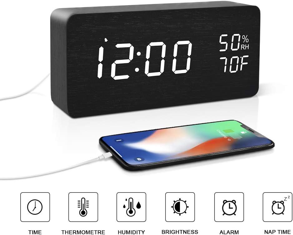 BlaCOG Digital Desk Clock Wood Electric Alarm Clock Easy Setting with Snooze/Time/Temperature/6 Level Brightness/2 Charging Ports/12/24Hr for Office, Desk, Bedroom, Gift Black