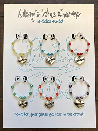 Bridesmaid Wedding Party Theme Wine Glass Charms