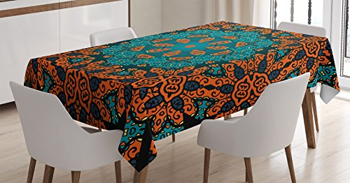"""Ambesonne Psychedelic Tablecloth, Round Flowers Floral Patterns with Psychedelic Motif Boho Hippie Style Image, Dining Room Kitchen Rectangular Table Cover, 60"""" X 84"""", Teal Orange"""