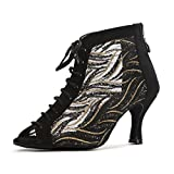 Minishion GL263 Women's Peep Toe Lace-up Black Mesh Tango Latin Dancing Shoes Evening Ankle Boots US 8