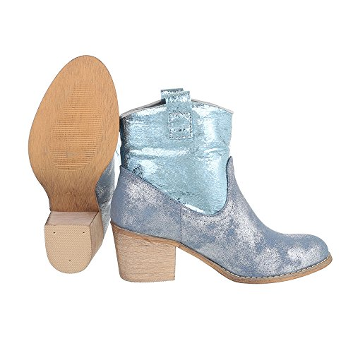 plateado Mujer azul Vaquero De Design Botas Ital xOP1w