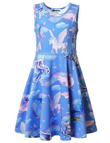 (Jxstar Big Girls Dress Unicorn Printed For Skater Fairy Pattern Sleeveless Dress Sky Unicorn 140)