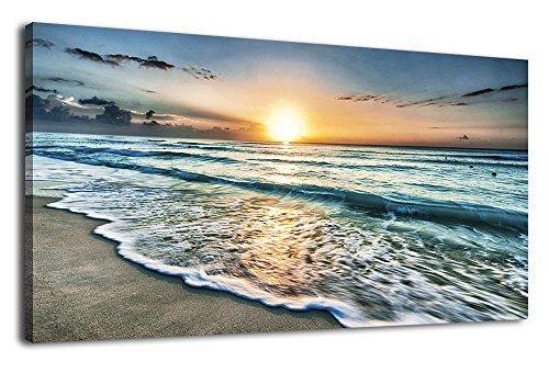 Large Beach Wall Art Canvas Art Living Room Wall Decor Ocean Waves Sunset Modern Landscape Artwork Picture Prints Contemporary Seascape Turquoise Framed Ready to Hang for Home Decoration 24