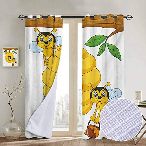 - NUOMANAN Pattern Curtains Nursery,Branch of Tree with Beehive and Bees Honey Funny Insect Hardworking Mascot,Yellow Brown Green,Living Room and Bedroom Multicolor Printed Curtain Sets 84