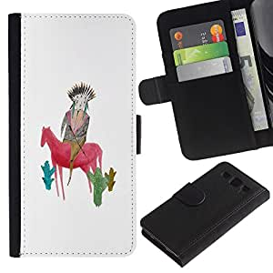 UberTech / Samsung Galaxy S3 III I9300 / Kids Drawing Mother Mom Horse White / Cuero PU Delgado caso Billetera cubierta Shell Armor Funda Case Cover Wallet Credit Card