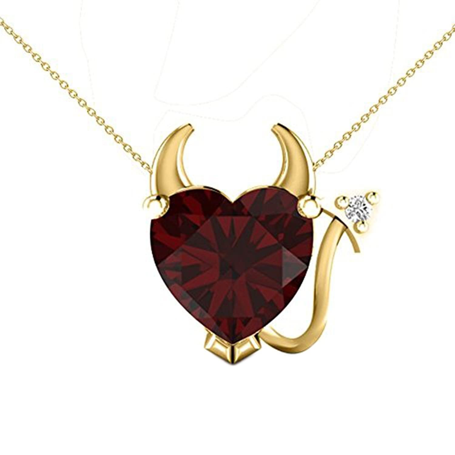 Araska Diamond Red Garnet Solitaire With Accents Devil Heart Pendant 18k Yellow Gold PL With 18