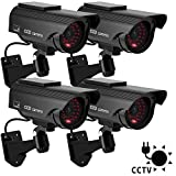 DIFEN Bullet Dummy Fake Security CCTV Solar Powered Camera Simulation Monitor with LED Blinking Light,Outdoor/Indoor Use for Homes & Business (4 Packs)