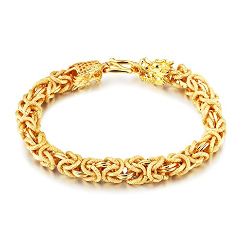 Lary Jewelry 9mm Wide Byzantine Chain Bracelet for Men 18K Gold Plated Double Dragon Wistband,8.46