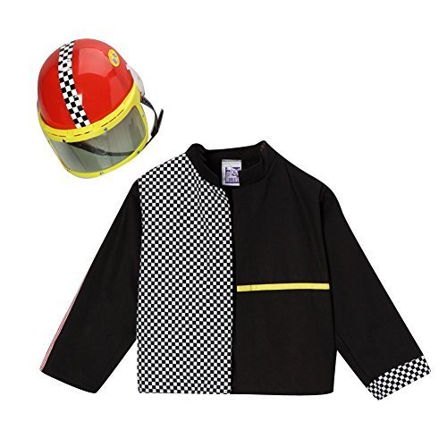 Race Car Girl Halloween Costumes (Boys Black Race Car Driver Jacket & Helmet Costume Set Size 4/6)