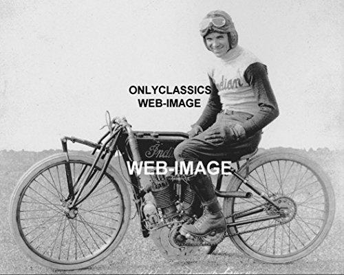 OnlyClassics 1917 Shrimp Burns Vintage Indian V-Twin Motorcycle Racing BOARDTRACK Racer Photo