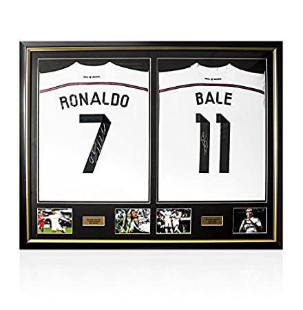 365cb089d1b Framed Cristiano Ronaldo   Gareth Bale Hand Signed Real Madrid Shirts -  Dual Framed  Amazon.co.uk  Kitchen   Home