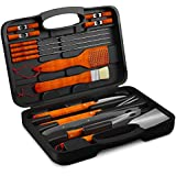 BBQ Grill Tools Set with 18 Barbecue Accessories - Stainless Steel Utensils With Wooden Handles - Complete Outdoor Grilling Kit