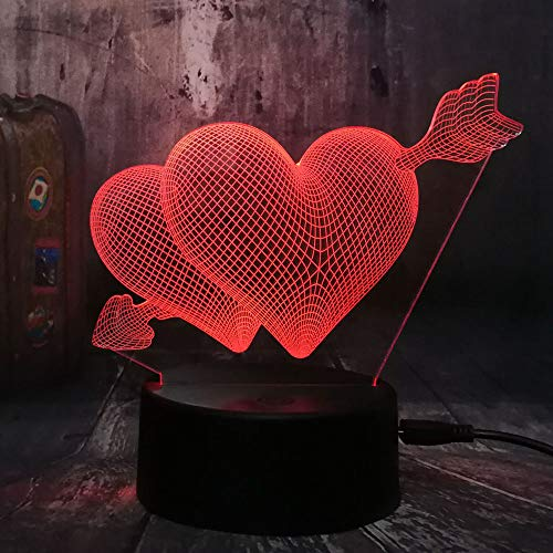 Lampara de mesa creativa Love Romance 3D Arrow Slots Pareja Sweetheart Gift a traves del corazon Led Night Light Wedding Bedroom