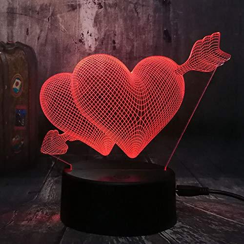 Lampara de mesa creativa Love Romance 3D Arrow Slots Pareja Sweetheart Gift a traves del corazon Led Night Light Wedding Bedroom