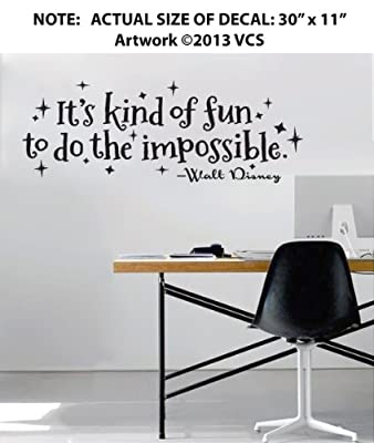 """""""It's Kind of Fun to Do the Impossible"""" Wall Décor Sticker Vinyl Decal - Walt Disney Quote - 30"""" x 11"""""""