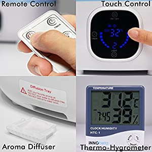 3L Humidifier Nursery, Desk Office Humidifier Gauge, Cool Mist Babyroom Super Quiet, Auto Shut-off, Last All Night, LED Screen Touchpad, Remote Control (Blue) +Thermometer Hygrometer Clock, Fountain