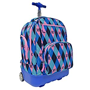 Pacific Gear Treasureland Polycarbonate Molded Ultralight Rolling and Shoulder Backpack, Argyle(19-Inch)