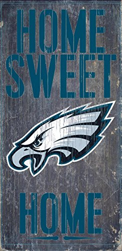 (Philadelphia Eagles Official NFL 14.5 inch x 9.5 inch Wood Sign Home Sweet Home by Fan Creations 048524 )