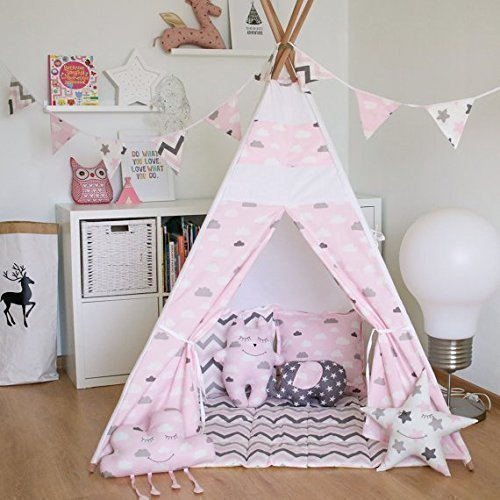 amazon com kids teepee tent with 4 poles play tent kids teepee rh amazon com Native American Teepee Tents Canvas Teepee Tents