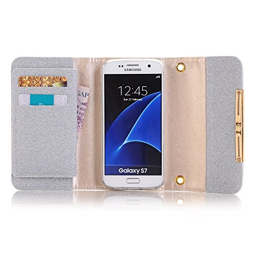 Apple iPhone 6 Case Wallet Cover,MEILIIO Luxury Glitter Powder Bling PU Leather Flip Zipper Wallet Cover Cards Slots Lady Multi Envelope Wristlet HandBag for Apple iPhone 6,iPhone 6S 4.7 inch (Grey) by MeiLiio (Image #3)