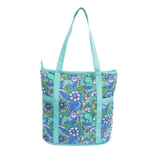 Quilted Cotton Large Tote Bag Shopping Bag Travel Bag (Blue)