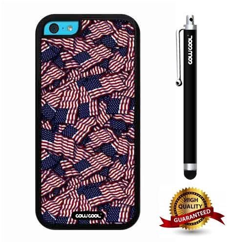 iphone 5C Case, Us Falgs Case, Cowcool Ultra Thin Soft Silicone Case for Apple iphone 5C - Us Falgs -