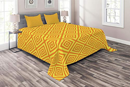 (Lunarable Mustard Coverlet Set Queen Size, Geometric Square Shaped Maze Lines Scroll Inner Corners Kids Retro Artful, 3 Piece Decorative Quilted Bedspread Set with 2 Pillow Shams, Earth Yellow Orange)