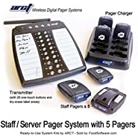 Wireless Staff Server Paging System Kit with Transmitter and 5 Pagers - Newest Design - 1 Year Warranty
