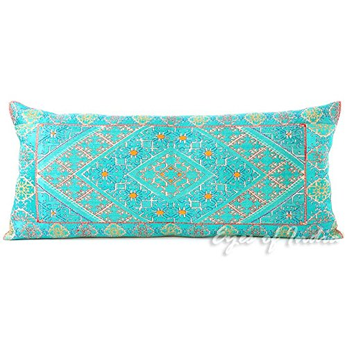 Eyes of India - 14 X 32 Turquoise Teal Embroidered Colorful Decorative Bolster Long Lumbar Sofa Couch Pillow Cushion Cover Boho Bohemian Indian Moroccan De