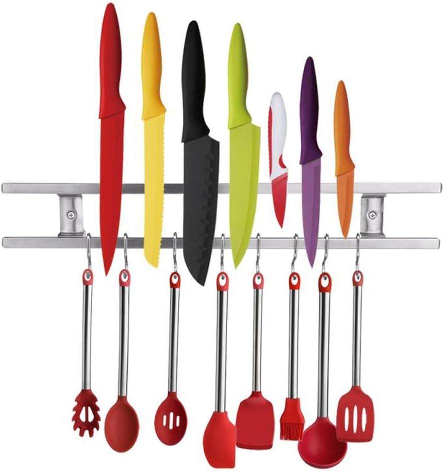 NUNET 16 Inch Stainless Steel Magnetic Knife Bar including 8 Hanger Hooks, Strong Magnet as Knife Rack/Strip, Kitchen Utensil Hanger, Garage Tool Holder & Home Organizer