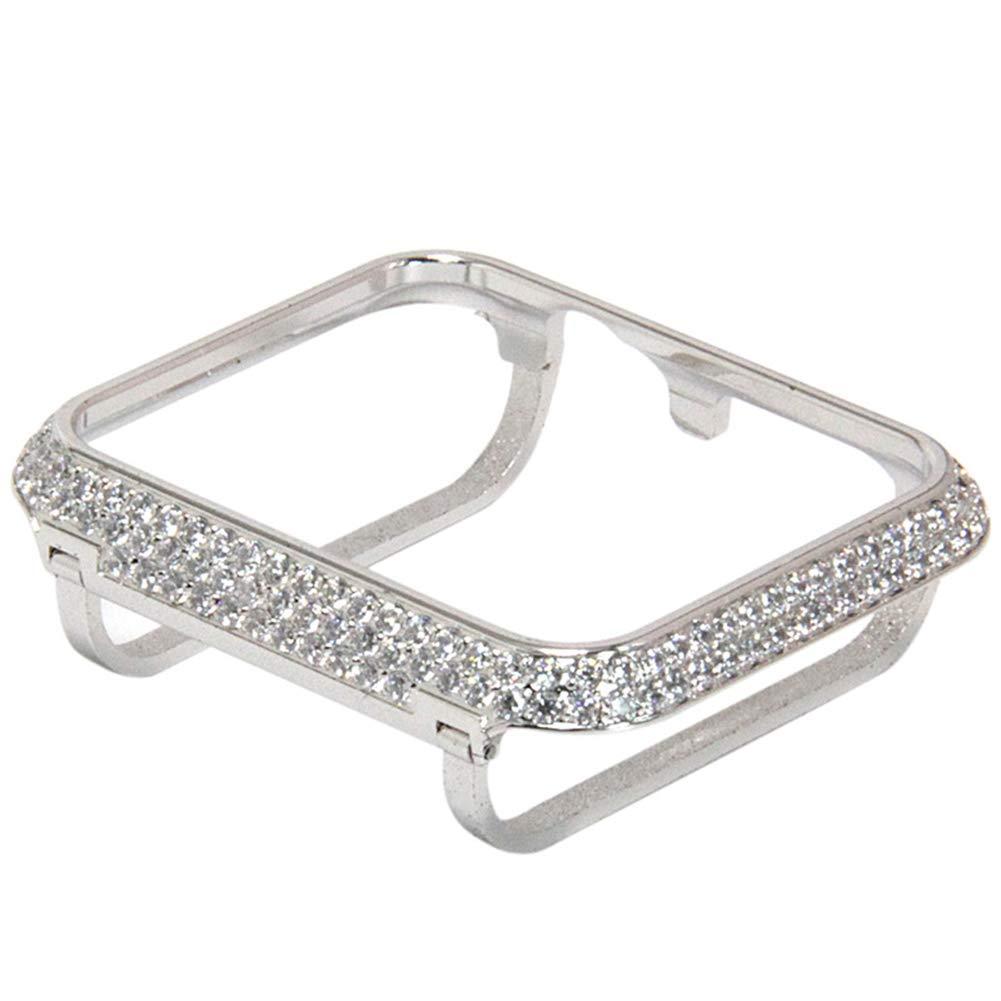 YALTOL Iwatch/Apple Watch Protection Frame with Rhinestone Diamond Metal Case Bezel for Apple Watch Series 4/3/2/1,Silver,44mm