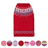 """Blueberry Pet Icelandic Lopi Pullover Dog Sweater in Holiday Red, Back Length 8"""", Pack of 1 Clothes for Dogs"""