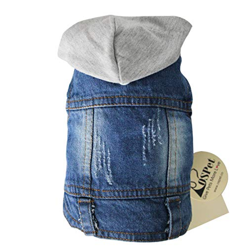 OSPet Pet Vests Dog Denim Hoodies Puppy Jacket for Small Dogs M ()