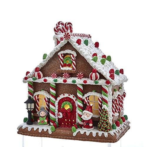 Gingerbread Adler Kurt - Kurt Adler Kurt S. Adler 10-Inch Battery-Operated LED Junction Gum Drop Gingerbread House Table Piece, Multi