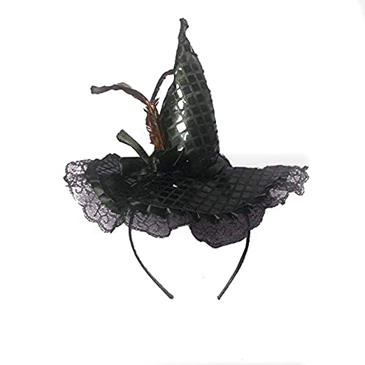 c351ff92798 Festivous Wishel Halloween Witch Hat Headband With Lace- Halloween Costume  (Black)