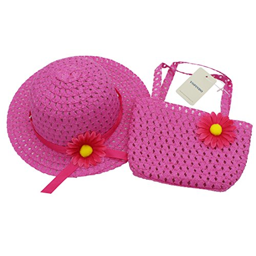 YOPINDO Tea Party Hat Purse Set Dress up Floral Straw Sun Hat Beach Cap with Handbag 1-5 Years Old (Hot Pink)