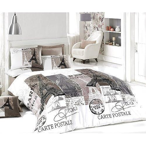 100 cotton 4pcs paris vintage gray full double size duvet cover set eiffel theme bedding linens