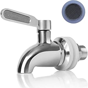 Stainless Steel Replacement Spigot for Beverage Dispenser, Stainless Spigot with Screen Filter Fits 5/8 inch Opening, No-Lead Water Dispenser Replacement Faucet Polished Finished